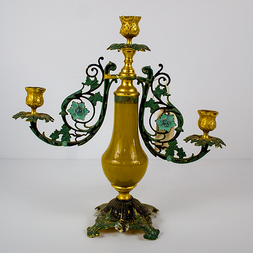 Gold and Teal Three Light Candelabra