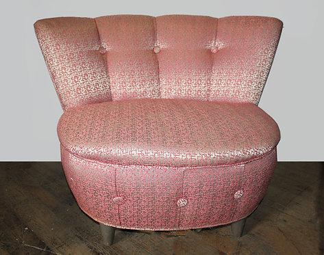 Pink Satin Puff Chair