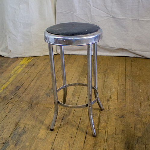 Silver Metal Stool with Black Seat