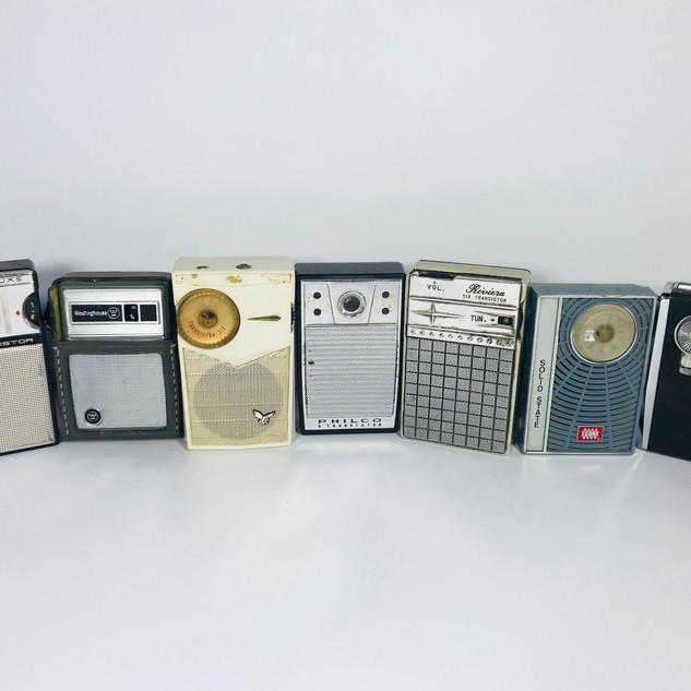 Large selection of travel transistor radios