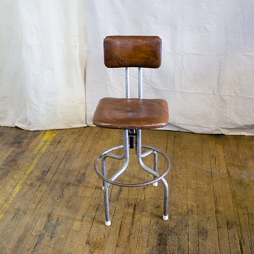 Brown Leather Industrial Stool