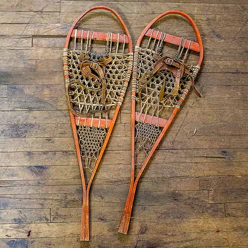 Snowshoes with Leather Bindings - Orange