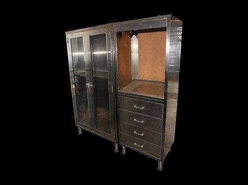 Large Metal Chrome Medical Cabinet