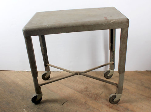 Industrial Metal Side Table on Casters