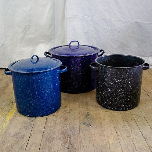 Blue Enamel Camping Stock Pots