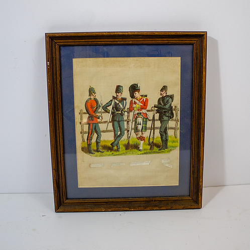 Framed Soldiers by Fence Illustration