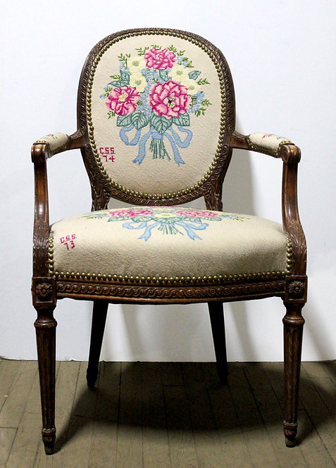 White Embroidered Floral Chair