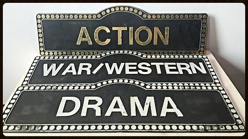 Movie Genre Display Signs
