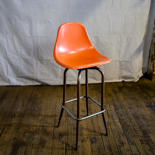 Orange Atomic Bar Stool