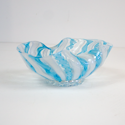 Blue and White Folded Glass Bowl