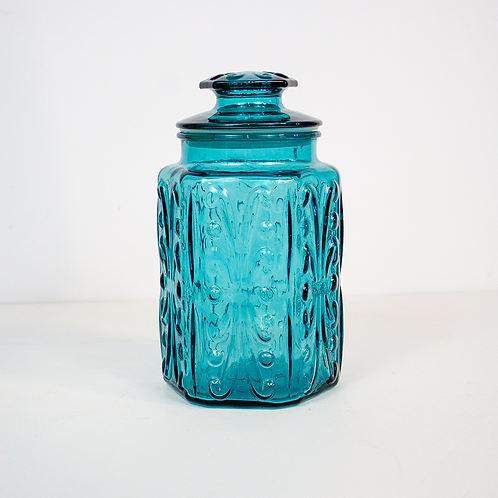 Blue Glass Jar with Lid