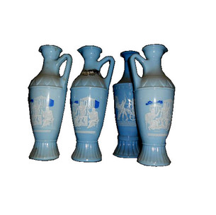 Wedgwood blue oil decanters