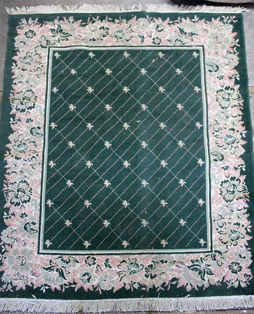 #33 Green Floral Rug