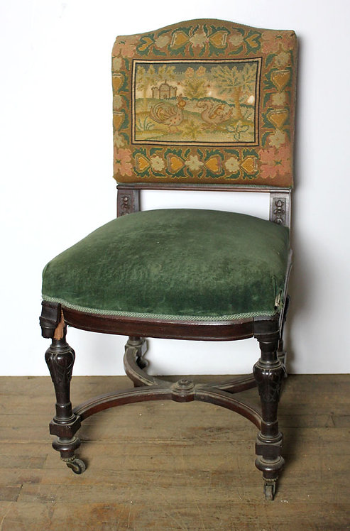 Green Armless Tapestry Chair