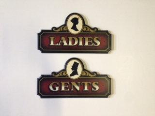 Ladies & Gents Restroom Signs