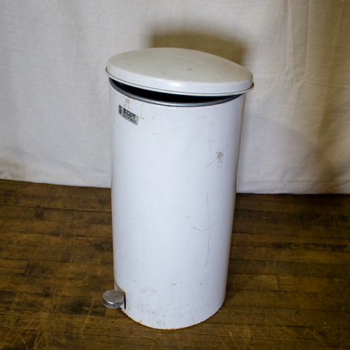 White Metal Trash Can