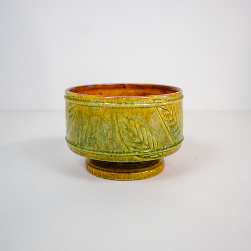 Light Green Ceramic Leaf Print Bowl