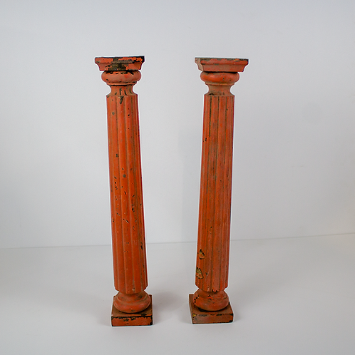 Faded Red Tall Candlesticks
