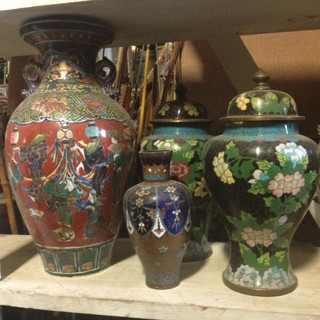 Chinese Laquered Urns