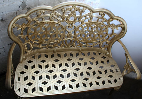 Wrought Iron Garden Bench Gold