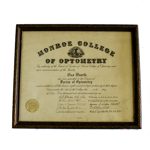 Doctor of Optometry Certificate