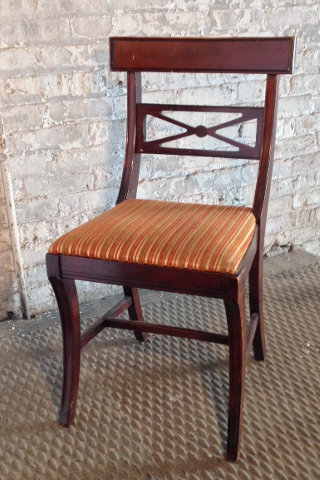 Wood Chair Striped Seat
