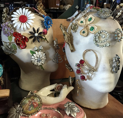 Mannequin Heads with Brooches
