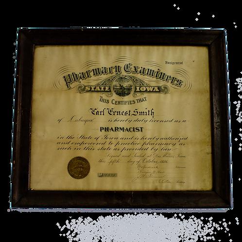Pharmacist Certificate Framed