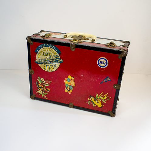 Red and White Luggage Case