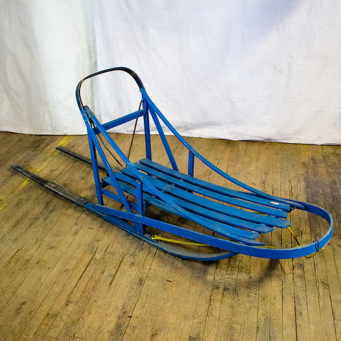 Blue Wooden Dog Sled High Angle