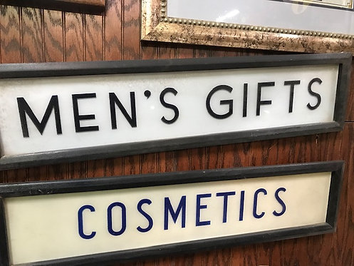 Men's Gifts, Cosmetics Signs