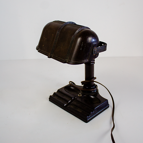 Small Brown Bankers Desk Lamp