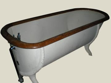 Tin Bathtub with Wood Trim