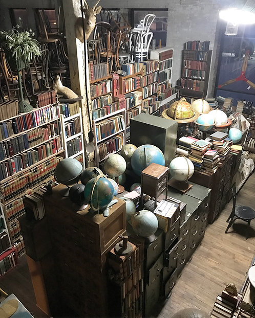 Library Section of Books and Globes
