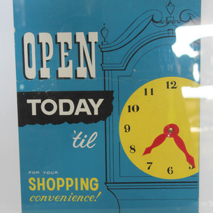 Open Today 'til clock sign