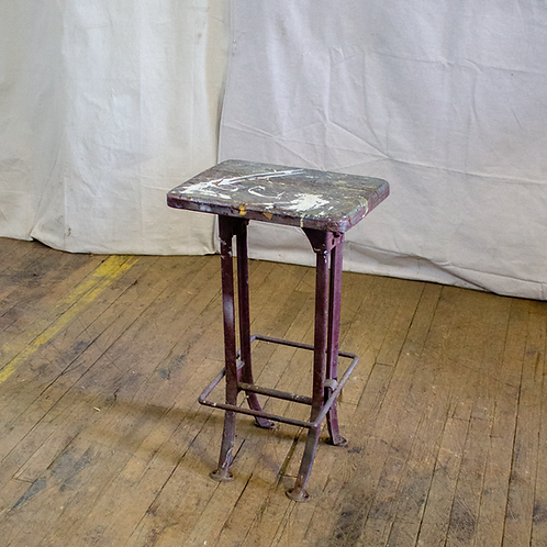 Wood Top Stool Side Table with Metal Legs