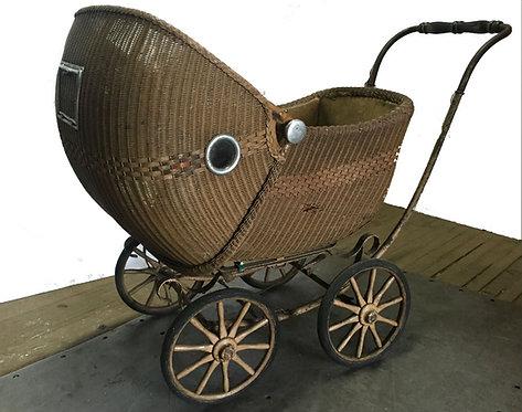 Antique Wicker Baby Pram