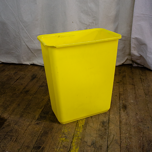 Yellow Plastic Trash Can