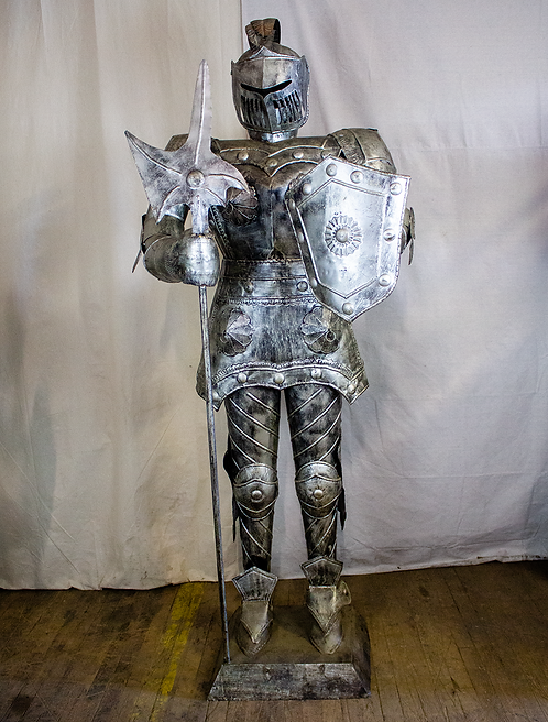 Silver Knight in Armor with Axe and Shield
