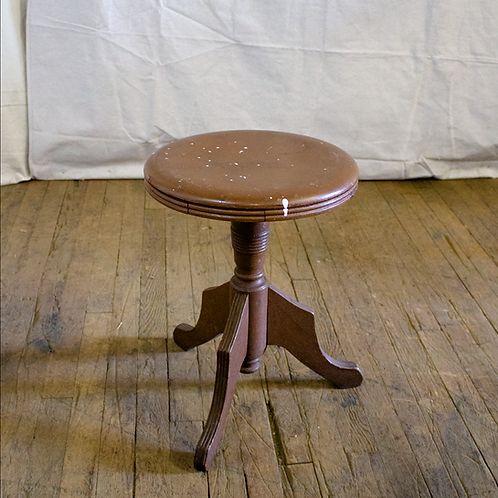 Light Brown Wooded Stool with paint drips