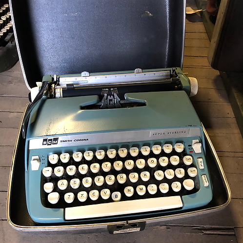 Blue Smith Corona Typewriter Super Sterling