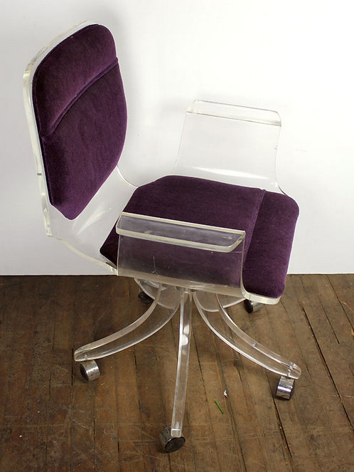 Plum and Acrylic Rolling Chair