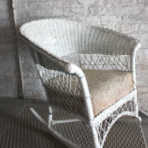 White Wicker Rocking Chair  $55.00 per week rental