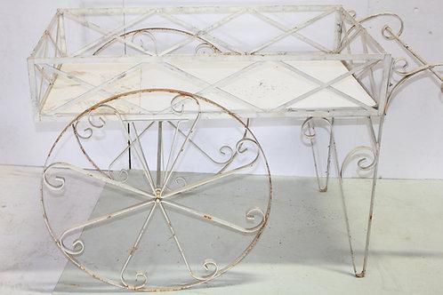White Rustic Metal Flower Cart