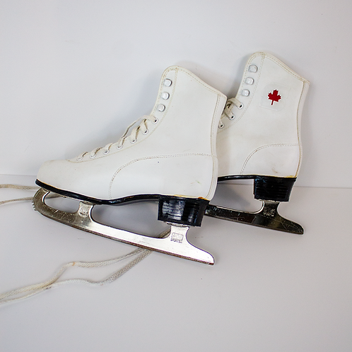 White Canadian Maple Leaf Ice Skates