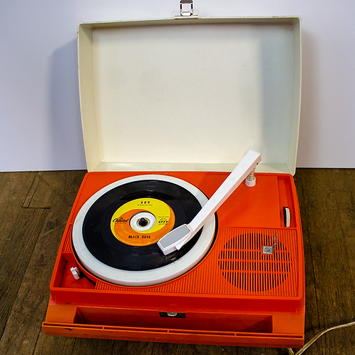 Orange Plastic Portable Record Player