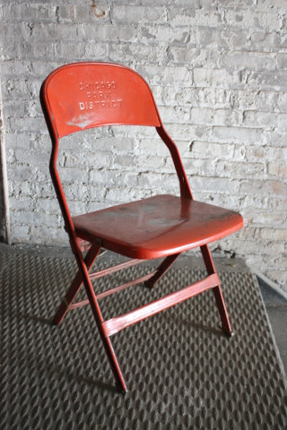 Orange Chicago Park District Folding Chair