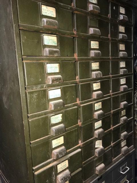 Green Metal Bank of Drawers