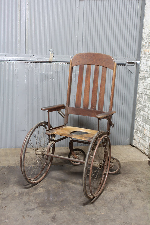 Open Back Antique Wooden Wheel Chair