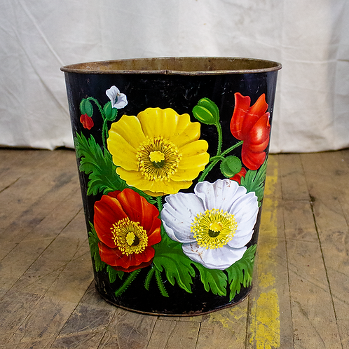 Black Floral Trash Can